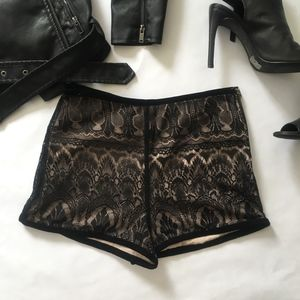 Black lace with nude under dressy shorts